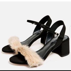 Zara block heel fur sandals heels size 41